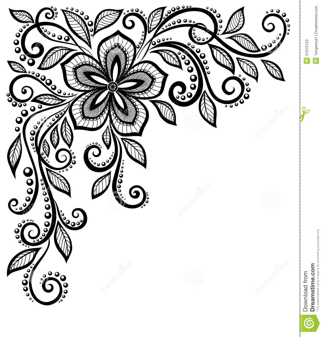 Beautiful Black And White Lace Flower In The Corne Stock