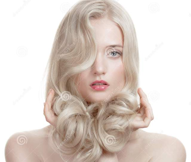 Beautiful Blonde Girl Healthy Long Curly Hair