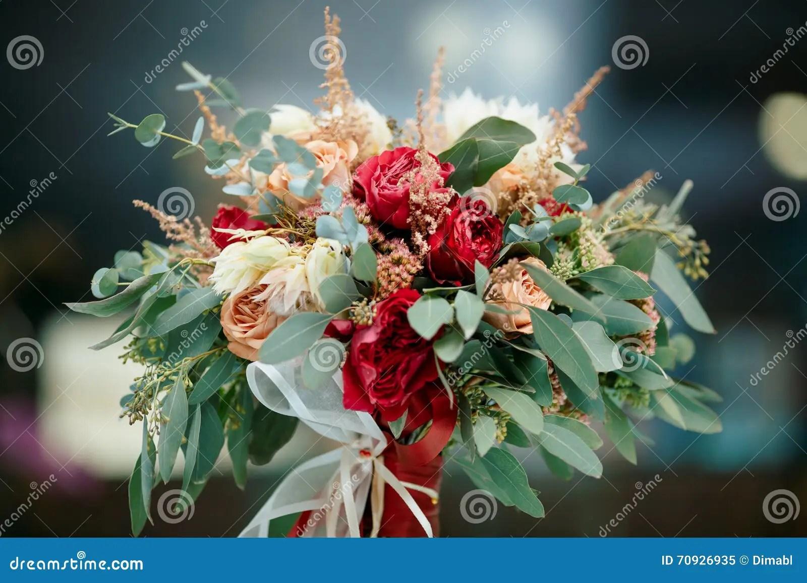 Beautiful Bridal Bouquet Of Fresh Flowers Stock Image