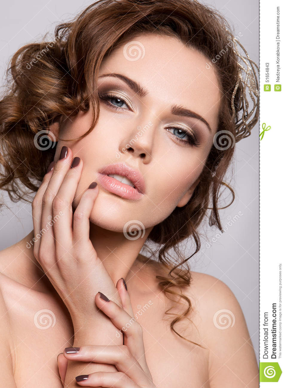 Beautiful Bride With Wedding Makeup And Hairstyle Stock