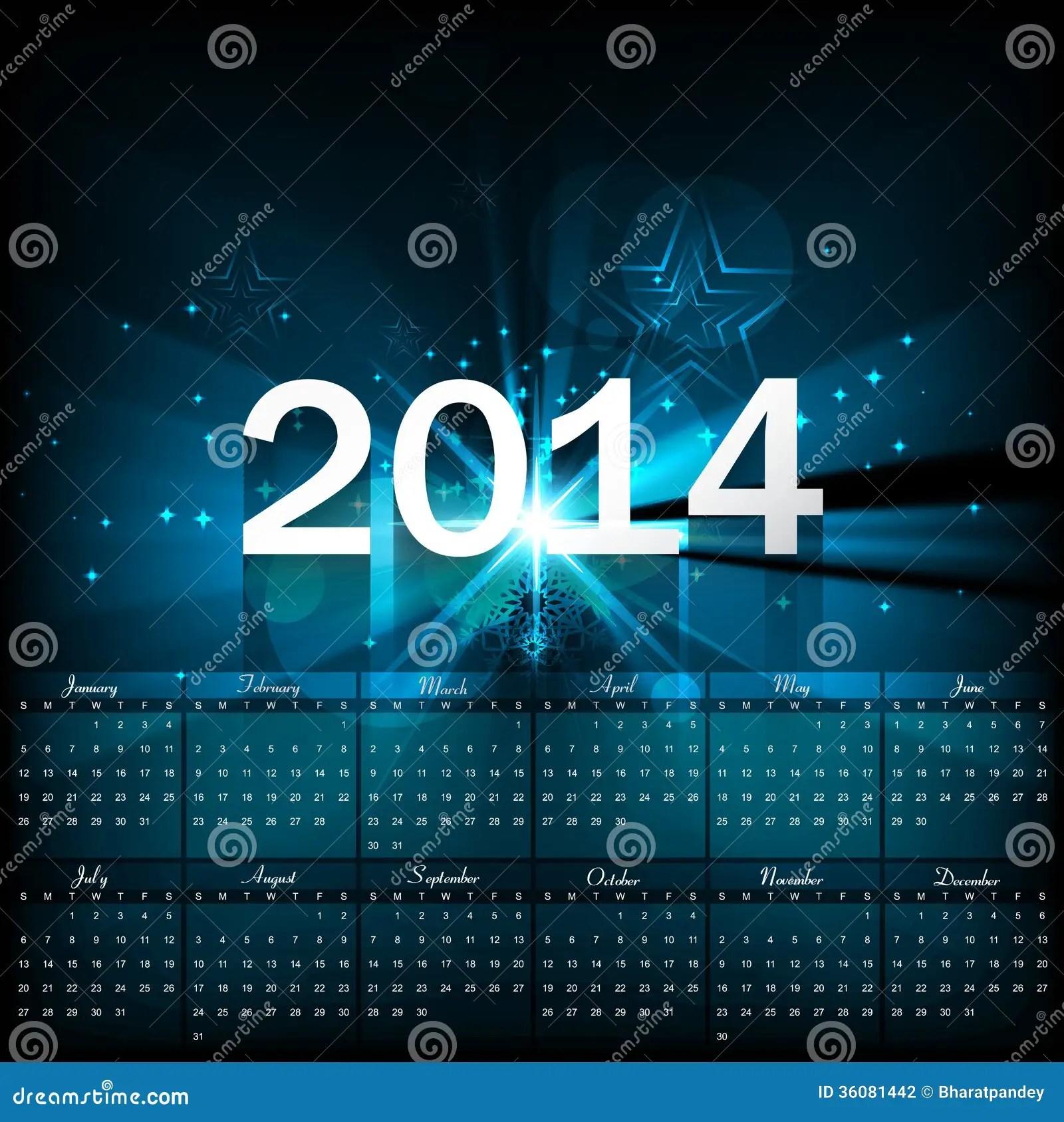 Beautiful Calendar 2014 Template Stock Photography Image 36081442