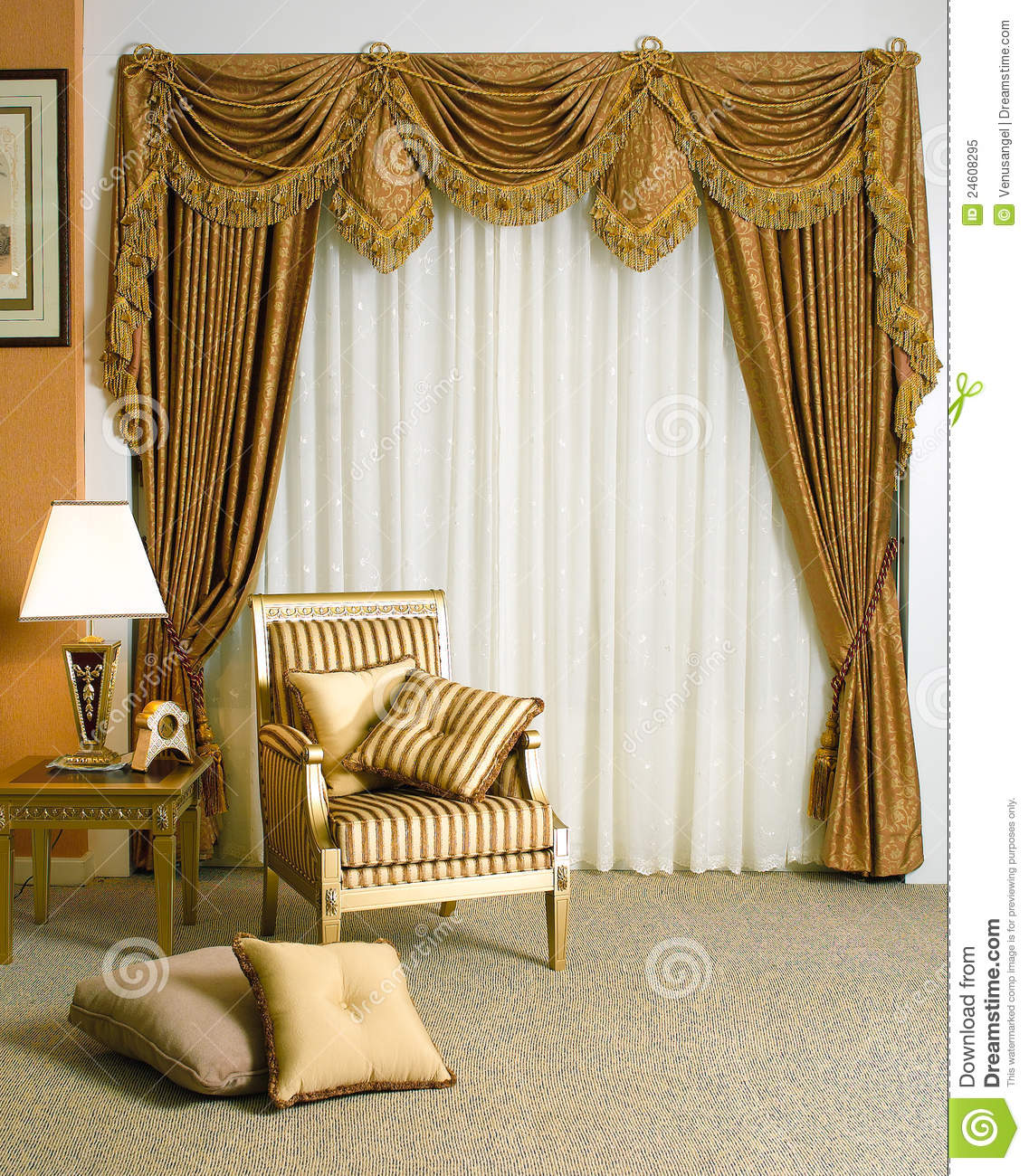 Beautiful Curtain In Living Room Stock Image Image Of Floor Carve 24608295