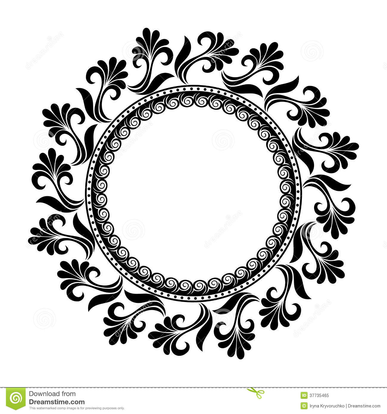 Beautiful Deco Floral Circle Vector Stock Vector