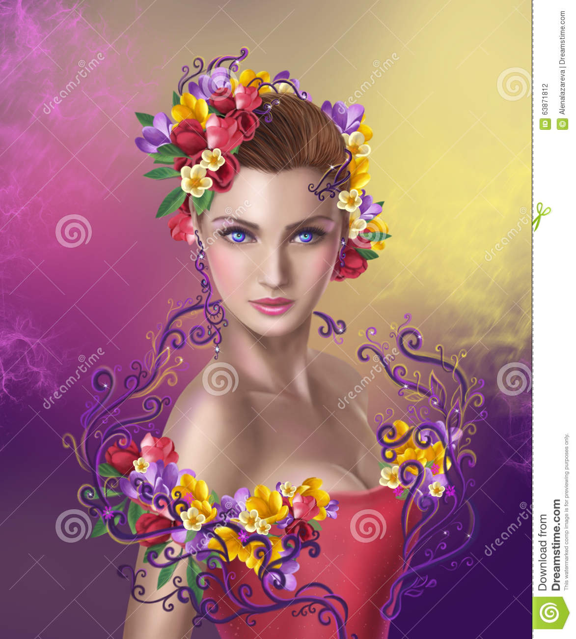 Beautiful Fantasy Fairy Woman With Hairstyle Color Flowers