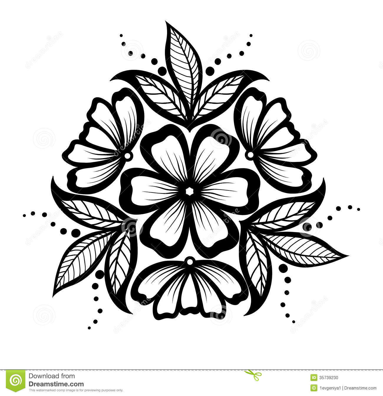 Beautiful Floral Pattern Design Element In The Old Style