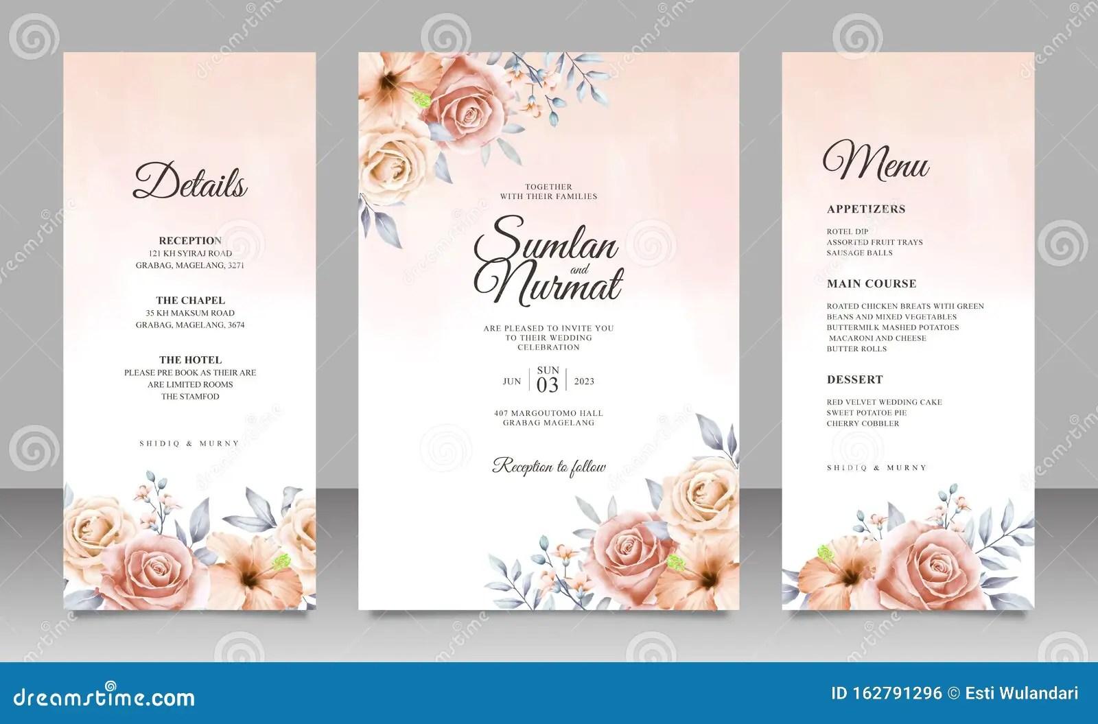 https www dreamstime com beautiful floral wedding invitation card template watercolor background suitable your wedding beautiful floral wedding image162791296