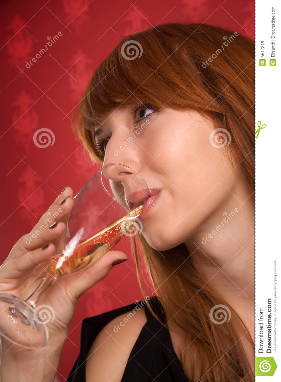 Beautiful Girl Drinking Champagne Royalty Free Stock