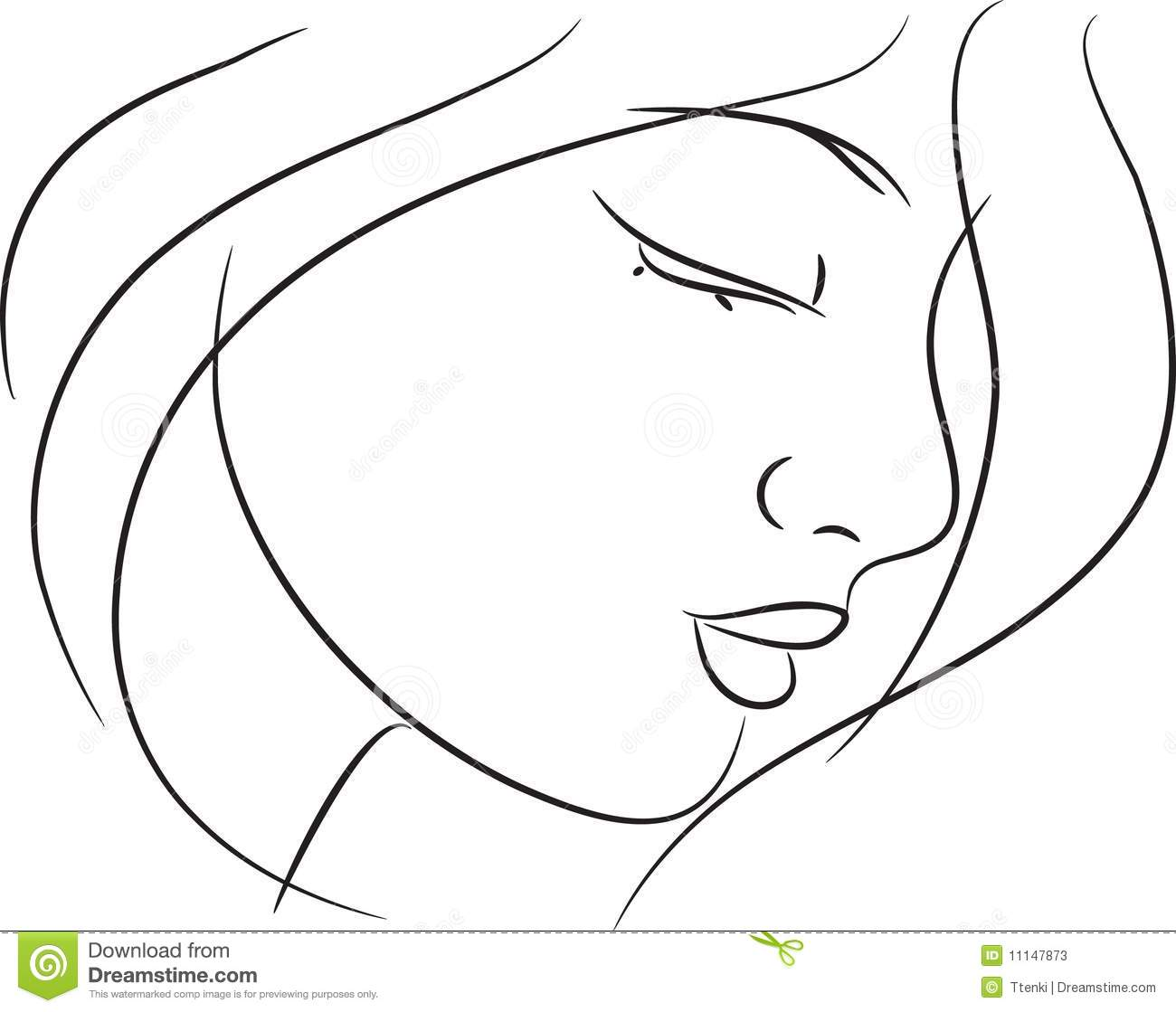 Beautiful Girl Sketch Stock Vector Illustration Of