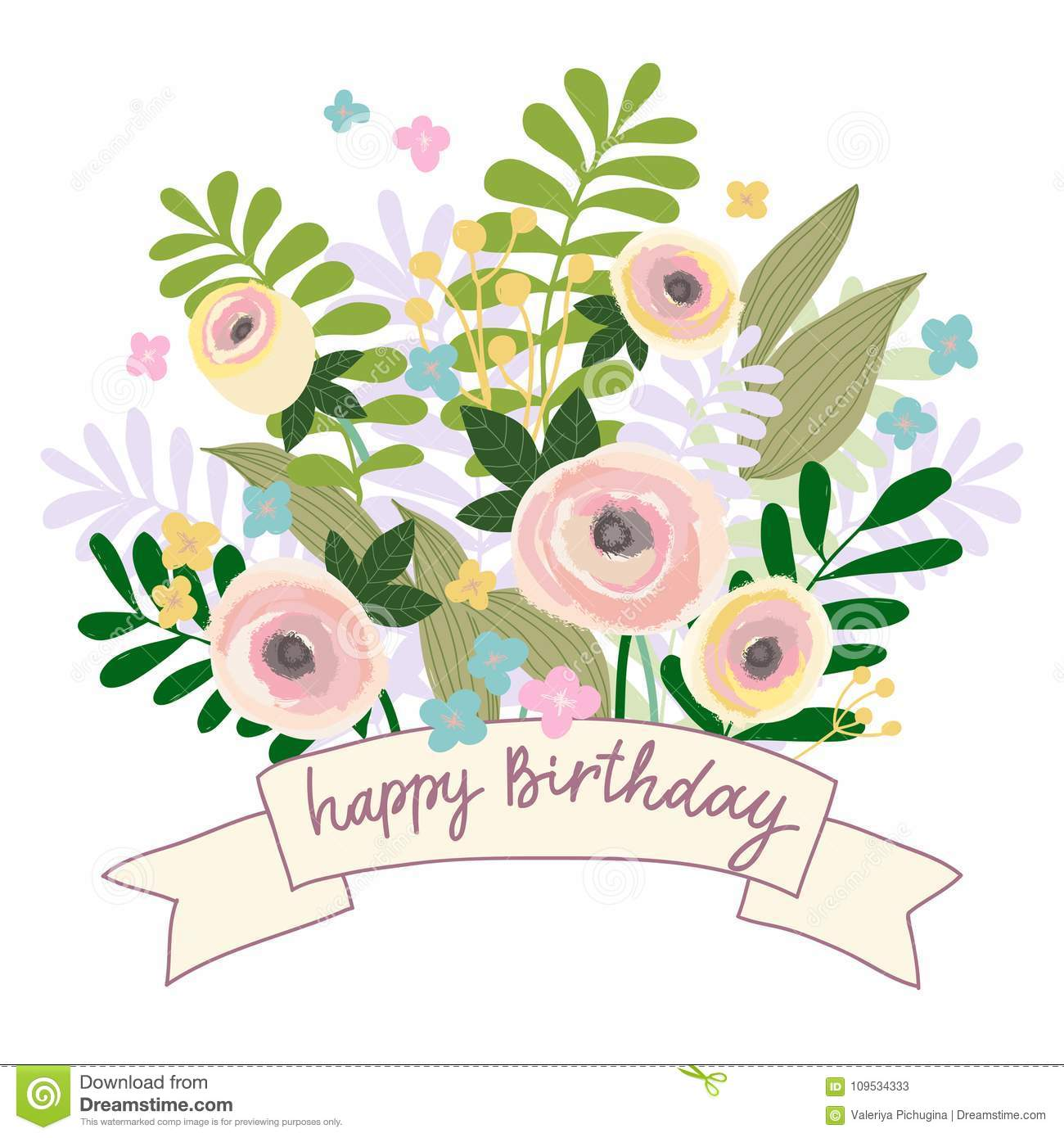 https www dreamstime com beautiful greeting vector illustration card invitation wedding birthday holiday flower ribbons banner pastel color vintage image109534333