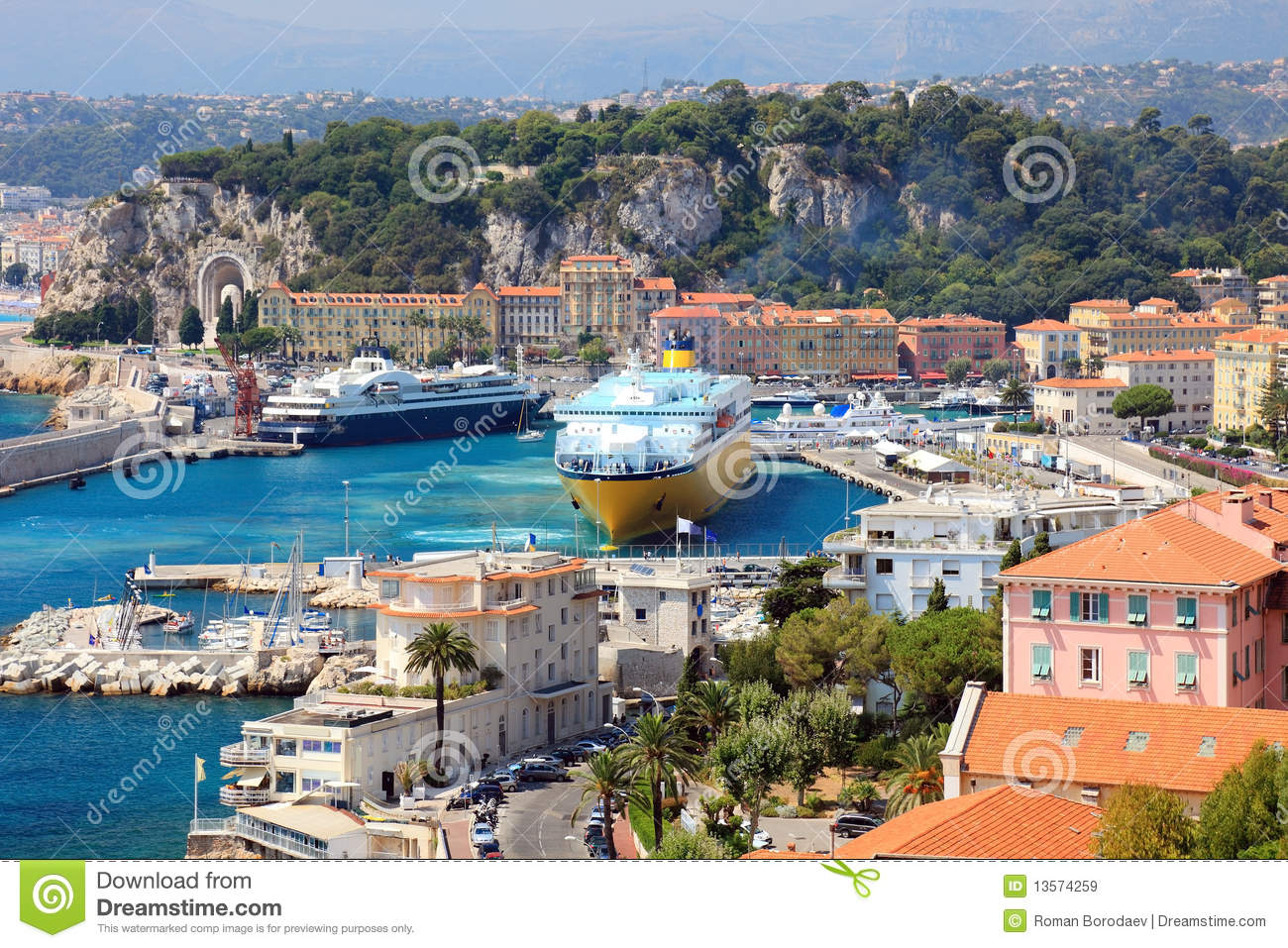 France Nice Harbour Harbor Port View French Riviera Cote