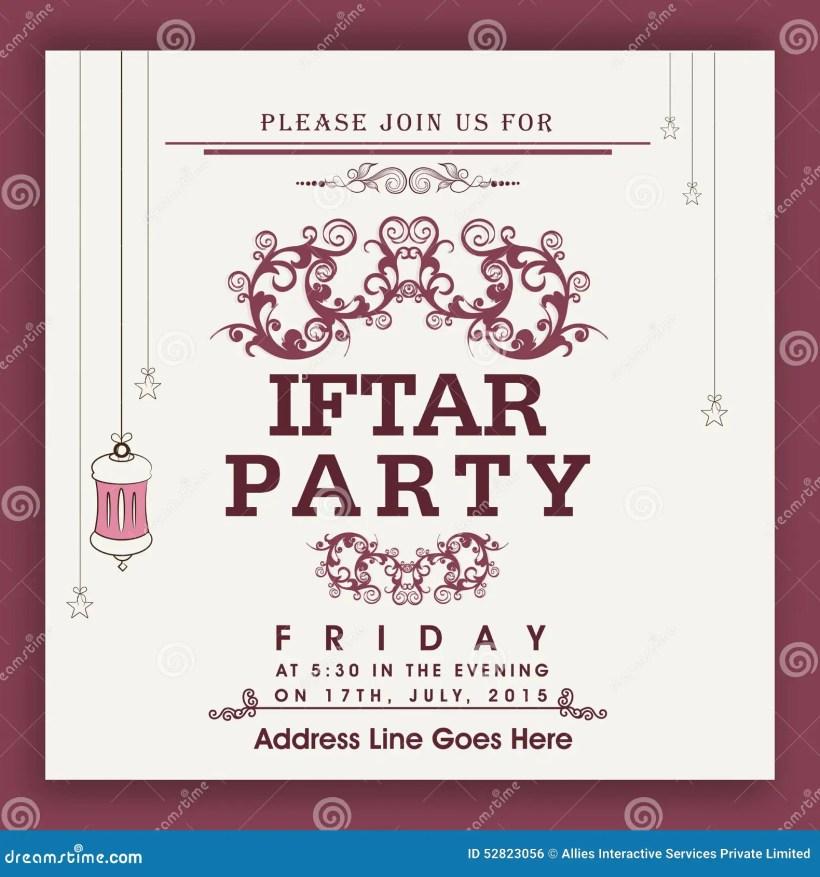 Beautiful Invitation Card For Ramadan Kareem Iftar Party Celebration