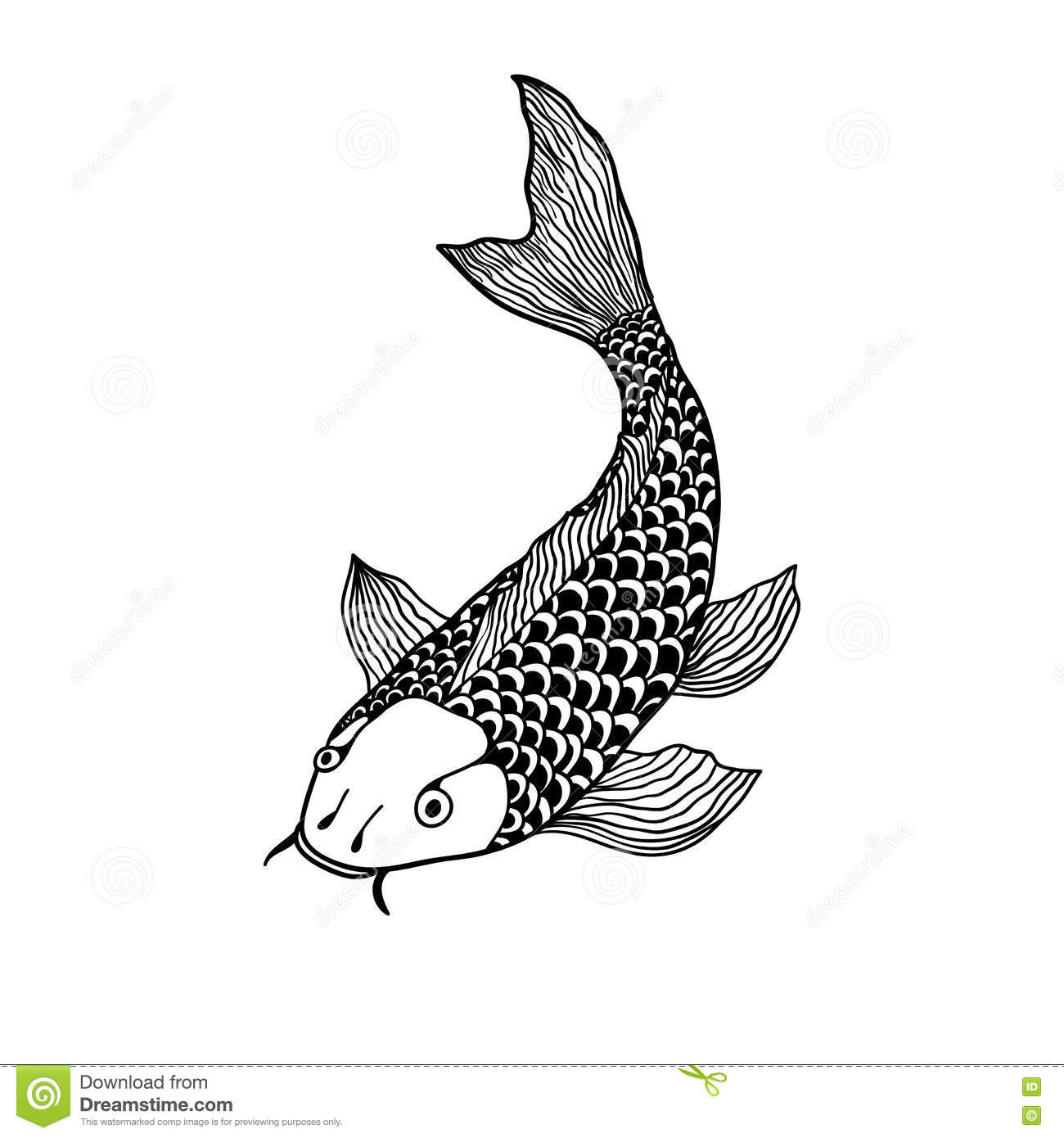 Beautiful Koi Carp Fish Illustration In Monochrome Symbol