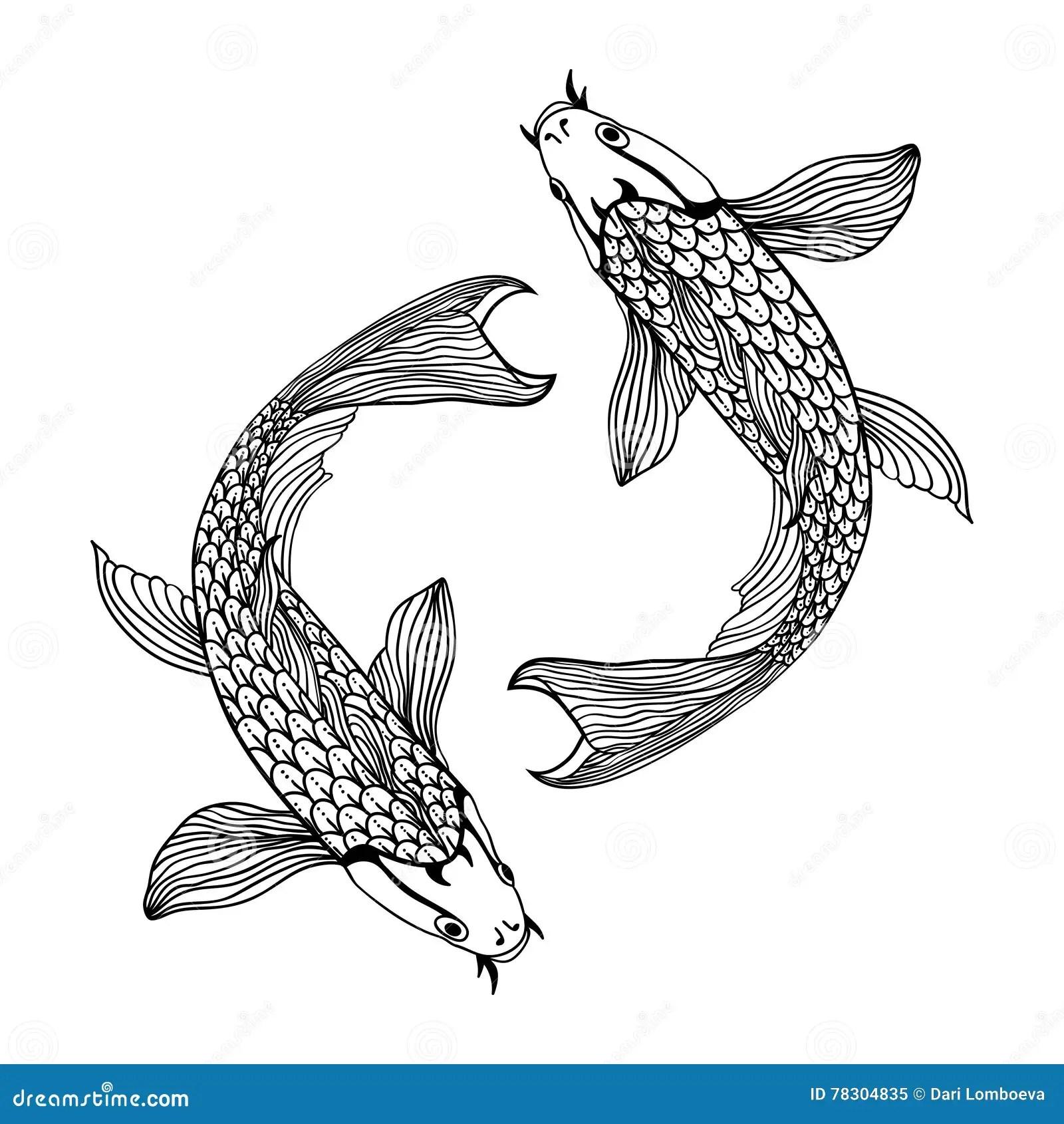 Beautiful Koi Carp Fish Illustration In Monochrome Symbol