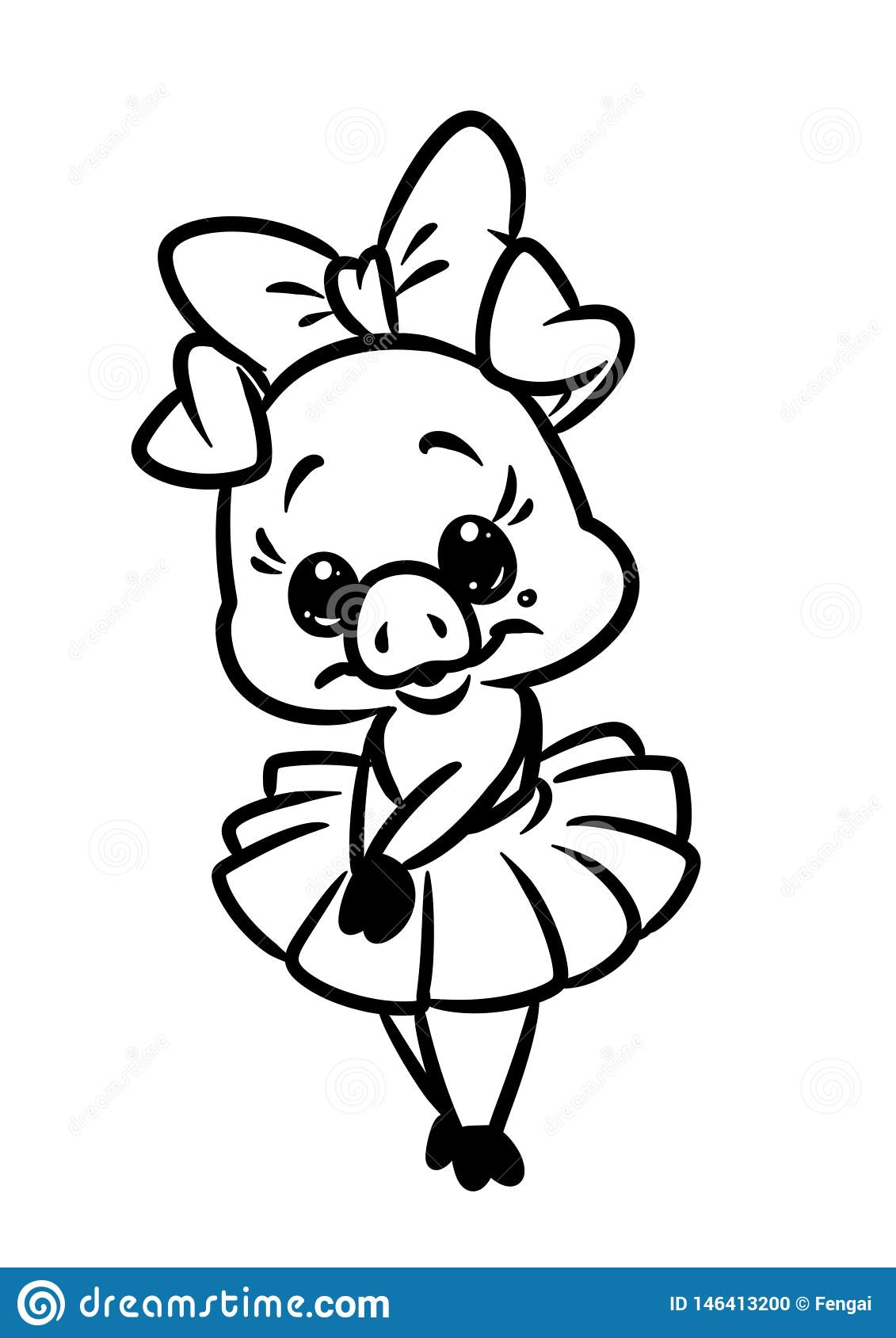 Beautiful Little Girl Piggy Pink Ballerina Coloring Page Animal Character Cartoon Stock Illustration Illustration Of Graphics Clipart 146413200