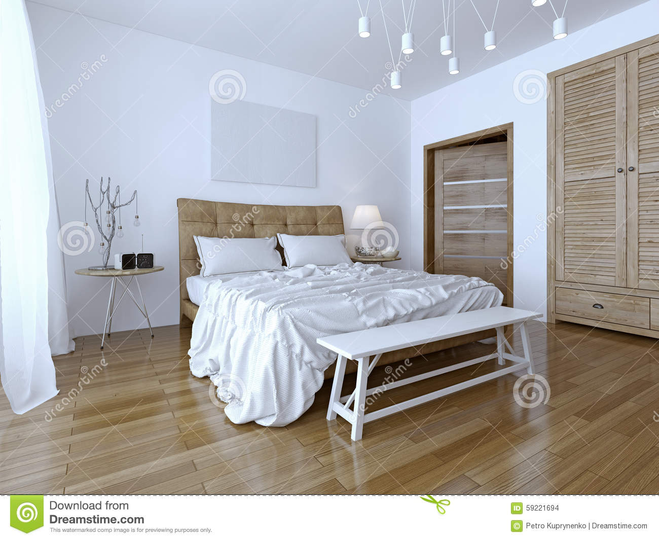 Beautiful And Modern Home And Hotel Bedroom Stock Photo