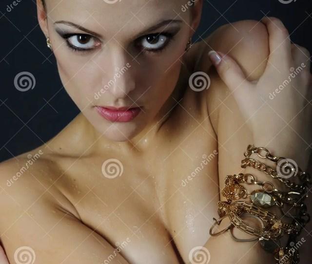 Beautiful Girl Model With Wet Body On Dark Background