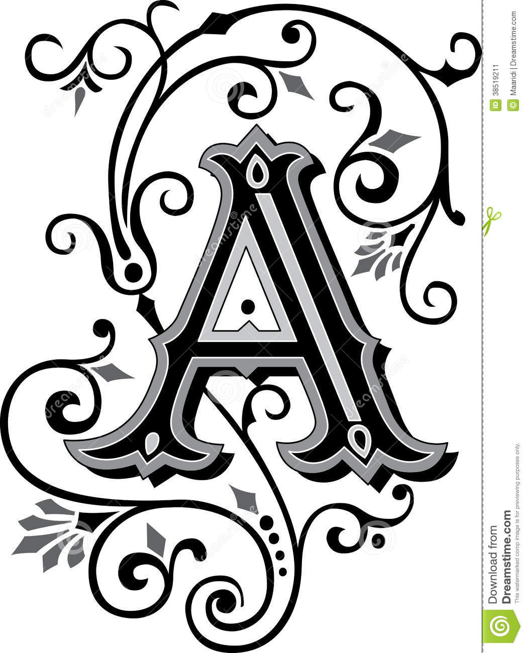 Beautiful Ornament Letter A Stock Vector