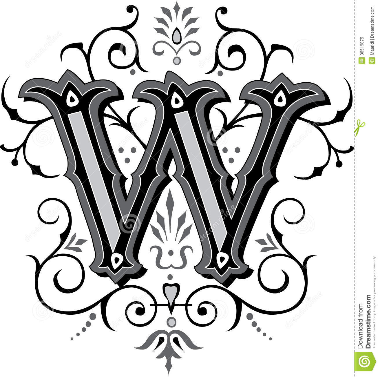Beautiful Ornament Letter W Stock Vector Image 38519875