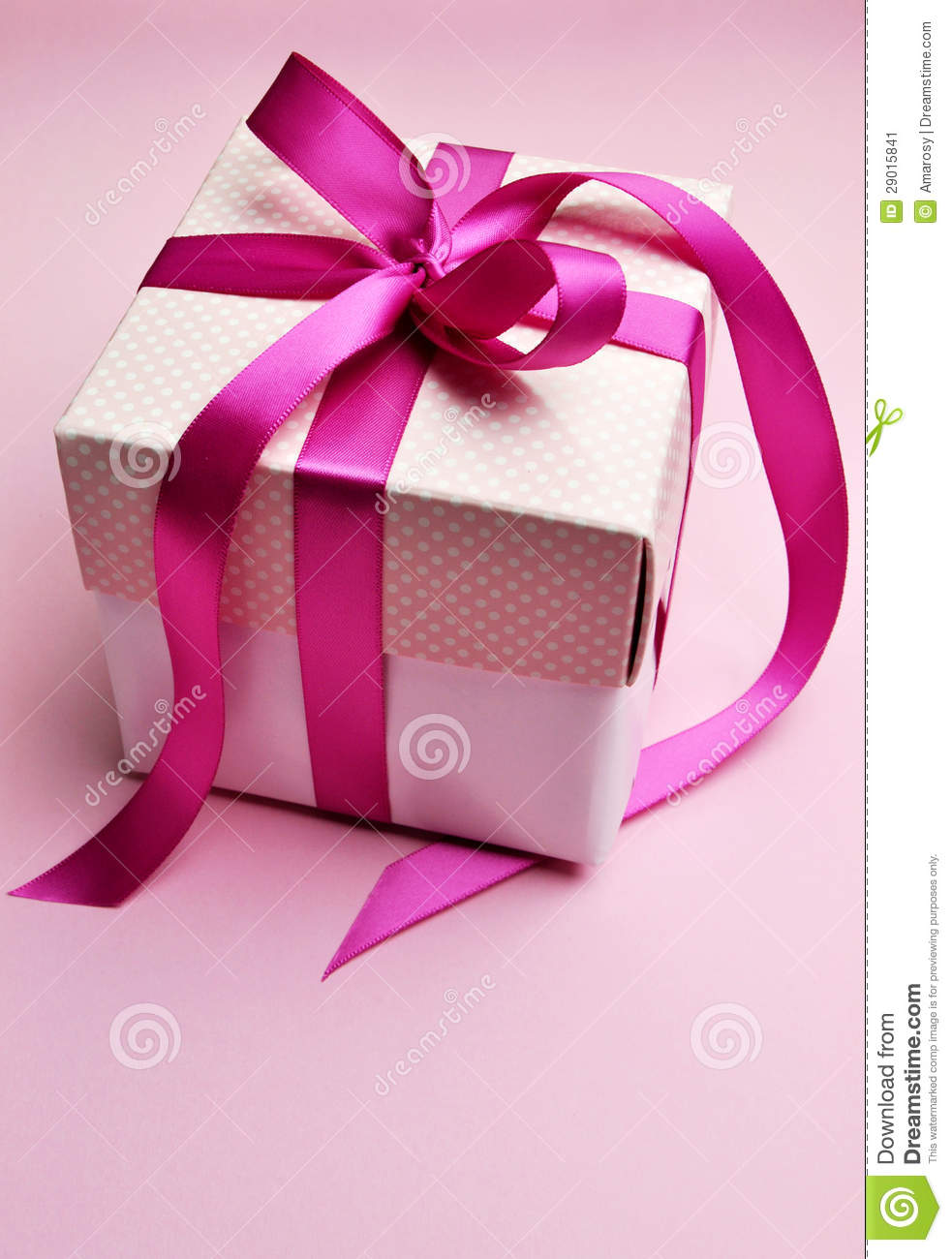 Beautiful Pink Present Gift In White Box And Polka Dot Lid