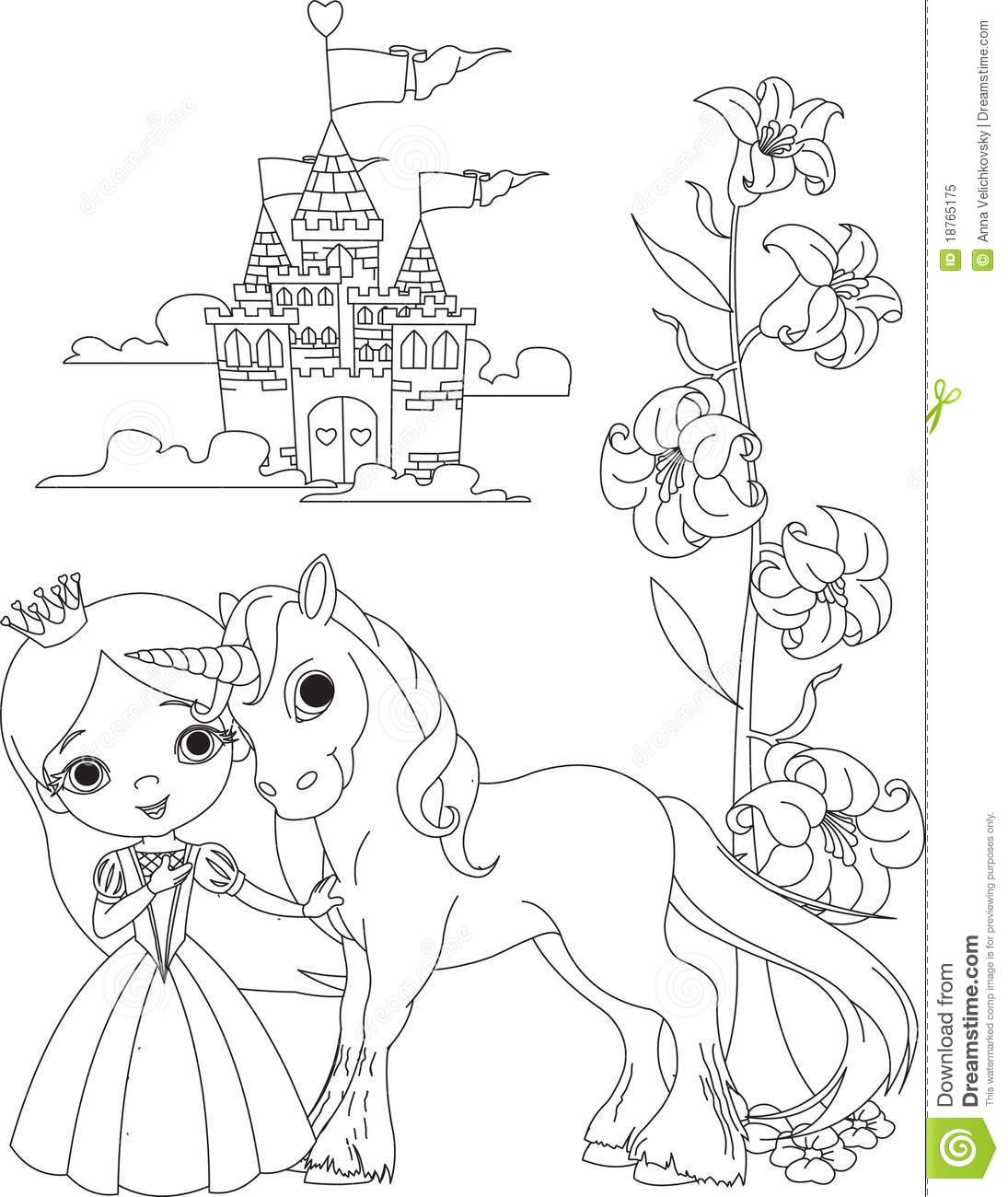 Beautiful Princess And Unicorn Coloring Page Stock Vector