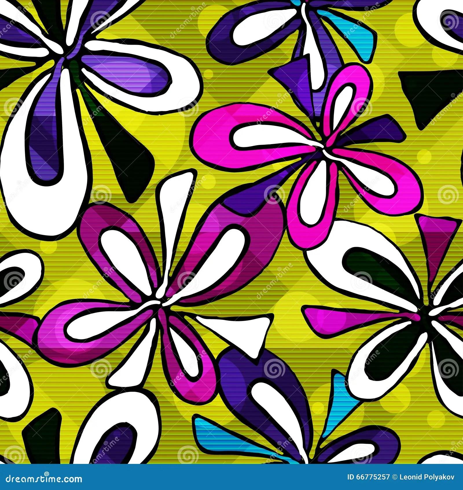 Beautiful Psychedelic Graffiti Flowers Seamless Background