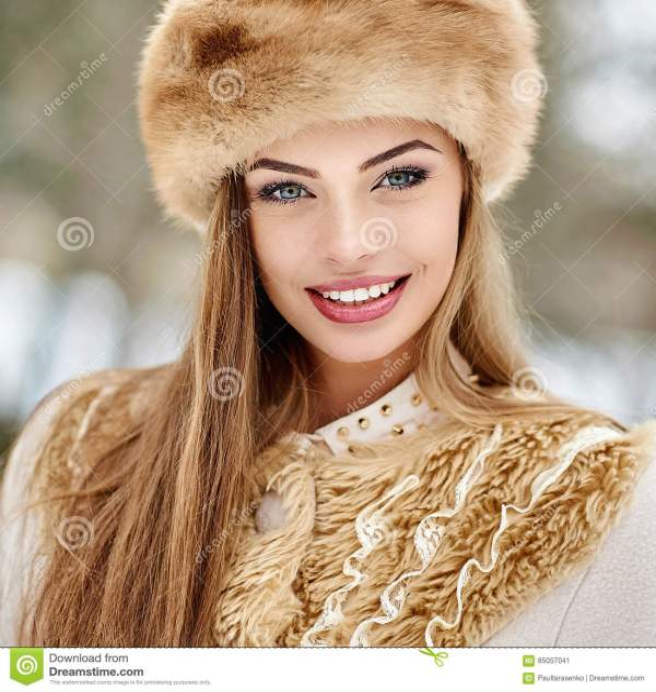 Beautiful Russian Winter Girl Portrait Stock Image - Image ...