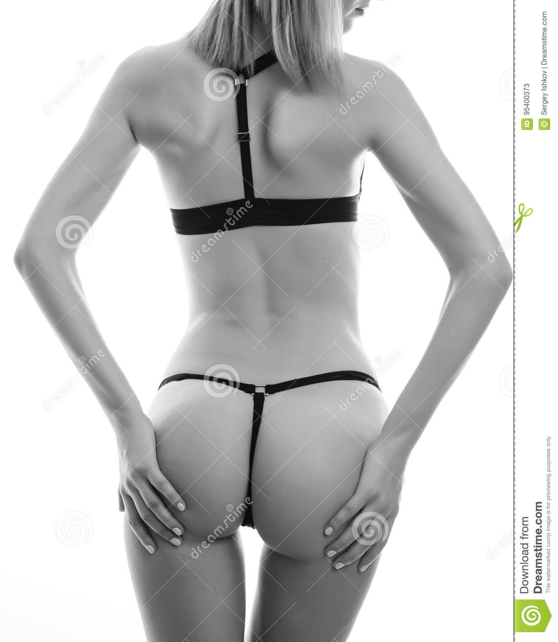 Beautiful Woman Wet Butts Isolated On A White Background