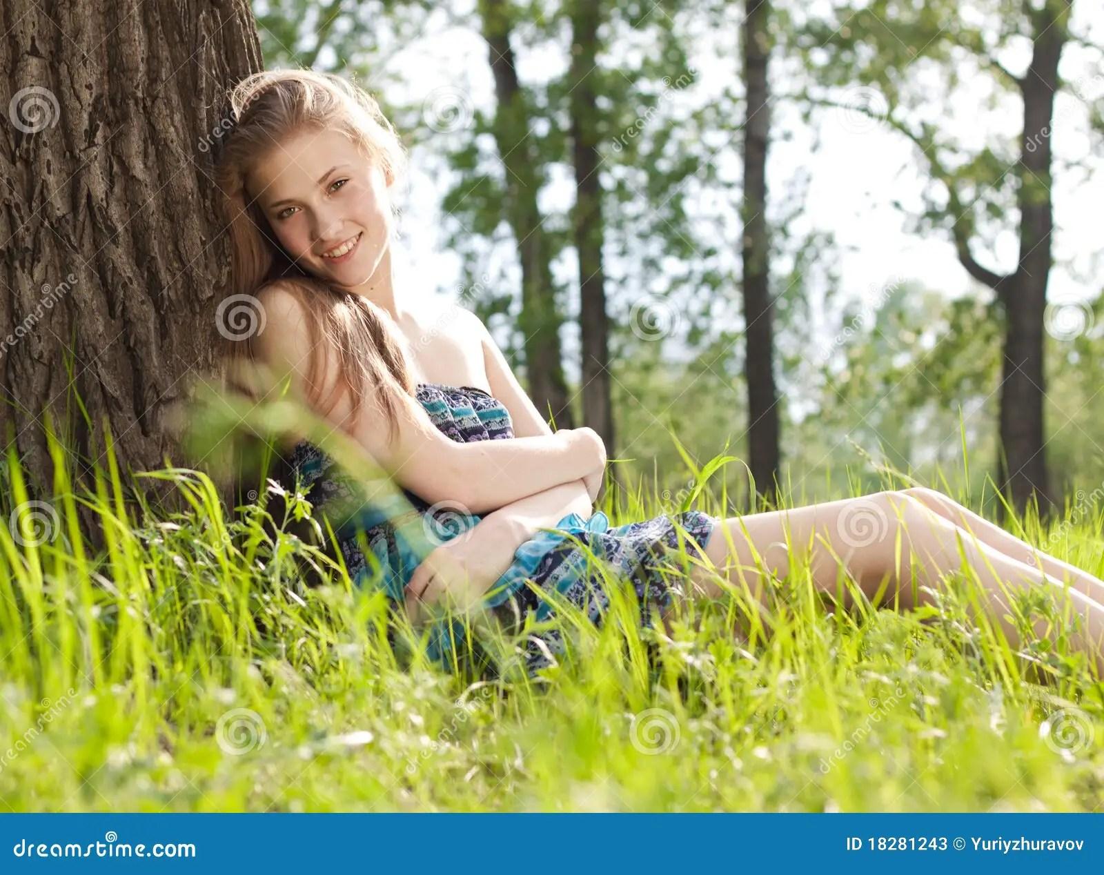 Beautiful Teen Girl In Blue Dress On The Meadow Stock ... on Beautiful Teen Girl  id=83375
