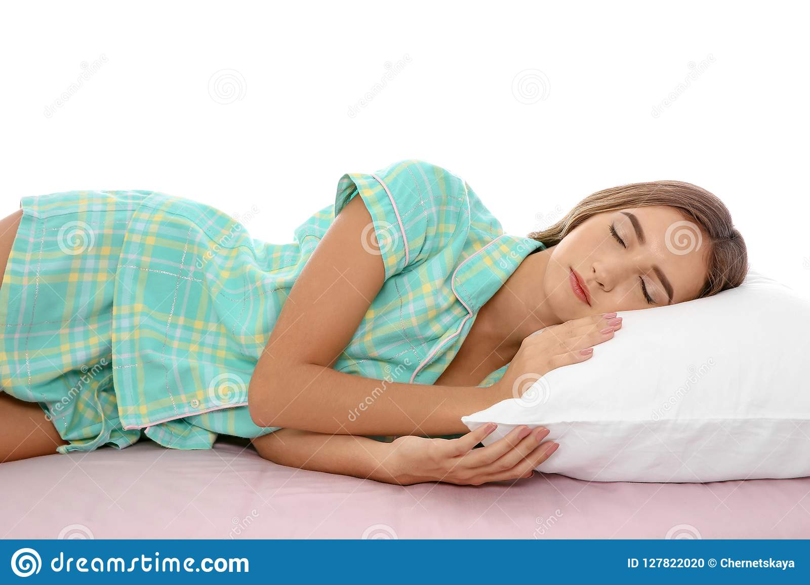 https www dreamstime com beautiful teen girl sleeping comfortable pillow bed against white background image127822020