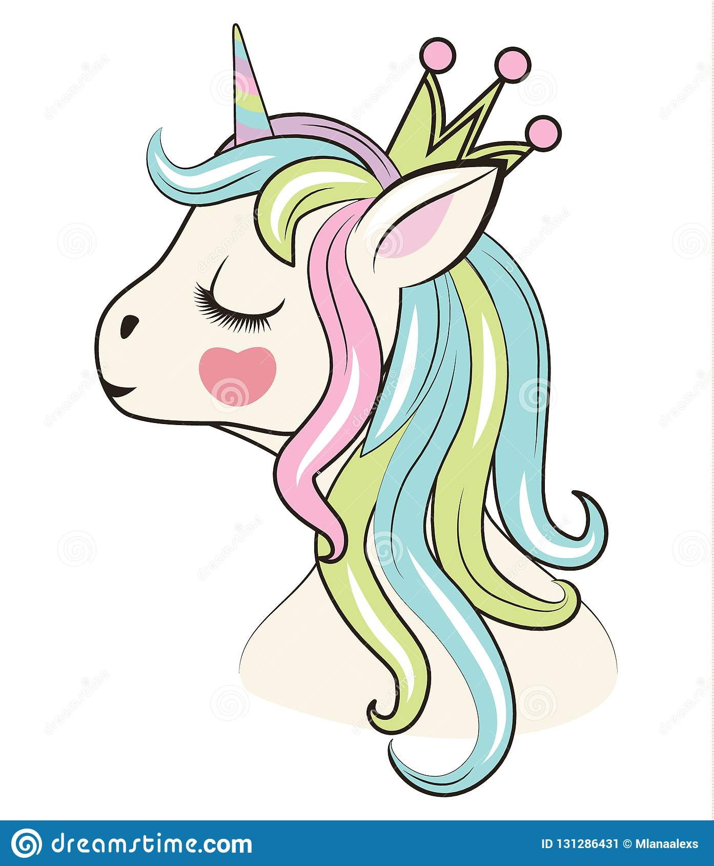 Beautiful Unicorn Head With Crown Can Be Used For Baby T