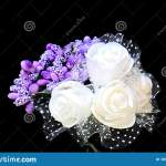 Beautiful Wedding Bouquet Of White Roses And Purple Flowers Stock Photo Image Of Black Wedding 169578434