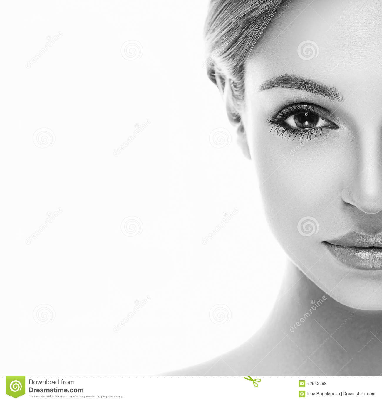 Beautiful Woman Half Face Close Up Studio On White Stock Photo