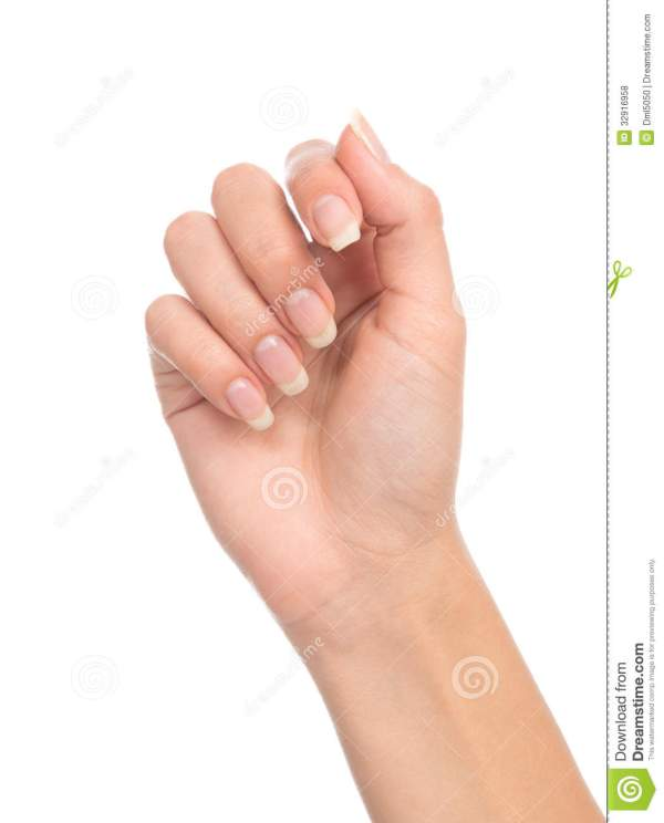 Beautiful Woman Hand With French Manicure Nails Royalty