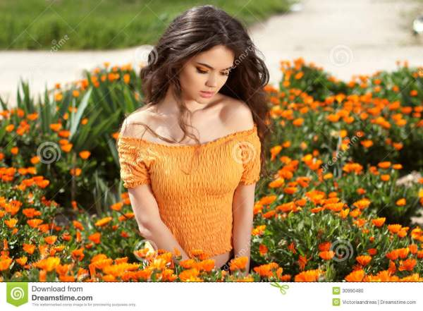 Beautiful Woman With Long Brown Hair Over Flowers Field