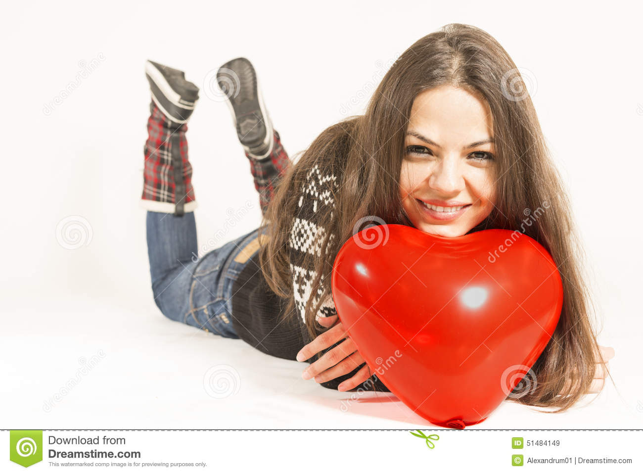 Woman Holding A Woven Valentine Heart Royalty Free Stock