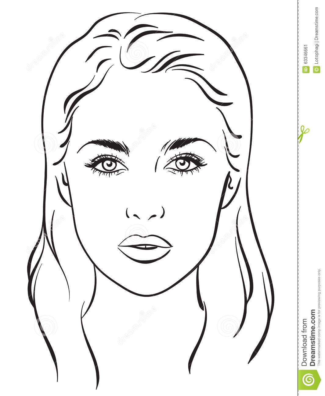 Beautiful Woman Portrait Face Chart Vector Illustration