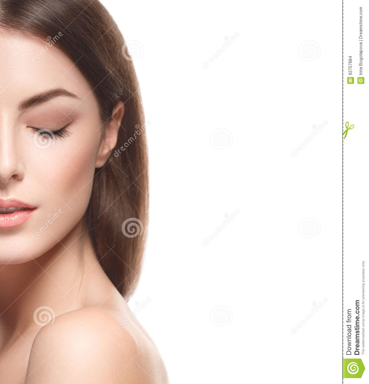 Beautiful Woman Portrait Half Face Closed Eyes Close Up