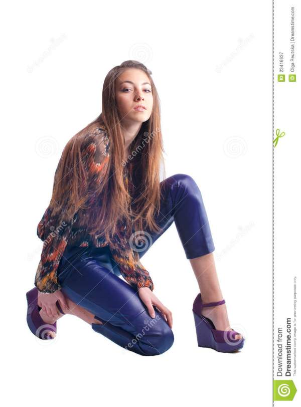 Beautiful Young Girl Model Posing Isolated Royalty Free ...