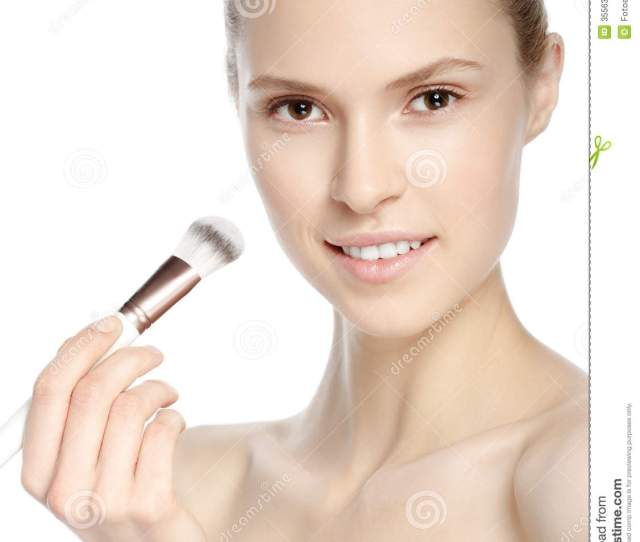 Beauty Girl With Makeup Brush Natural Make Up Nude Make Up Beautiful Face Makeover Perfect Skin Applying Makeup
