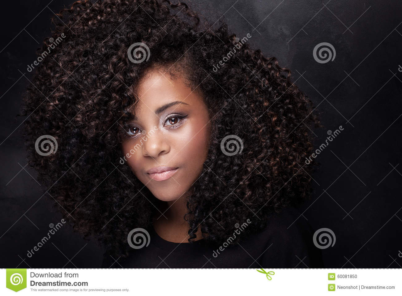 Beauty Portrait Of Young Girl With Afro Stock Photo