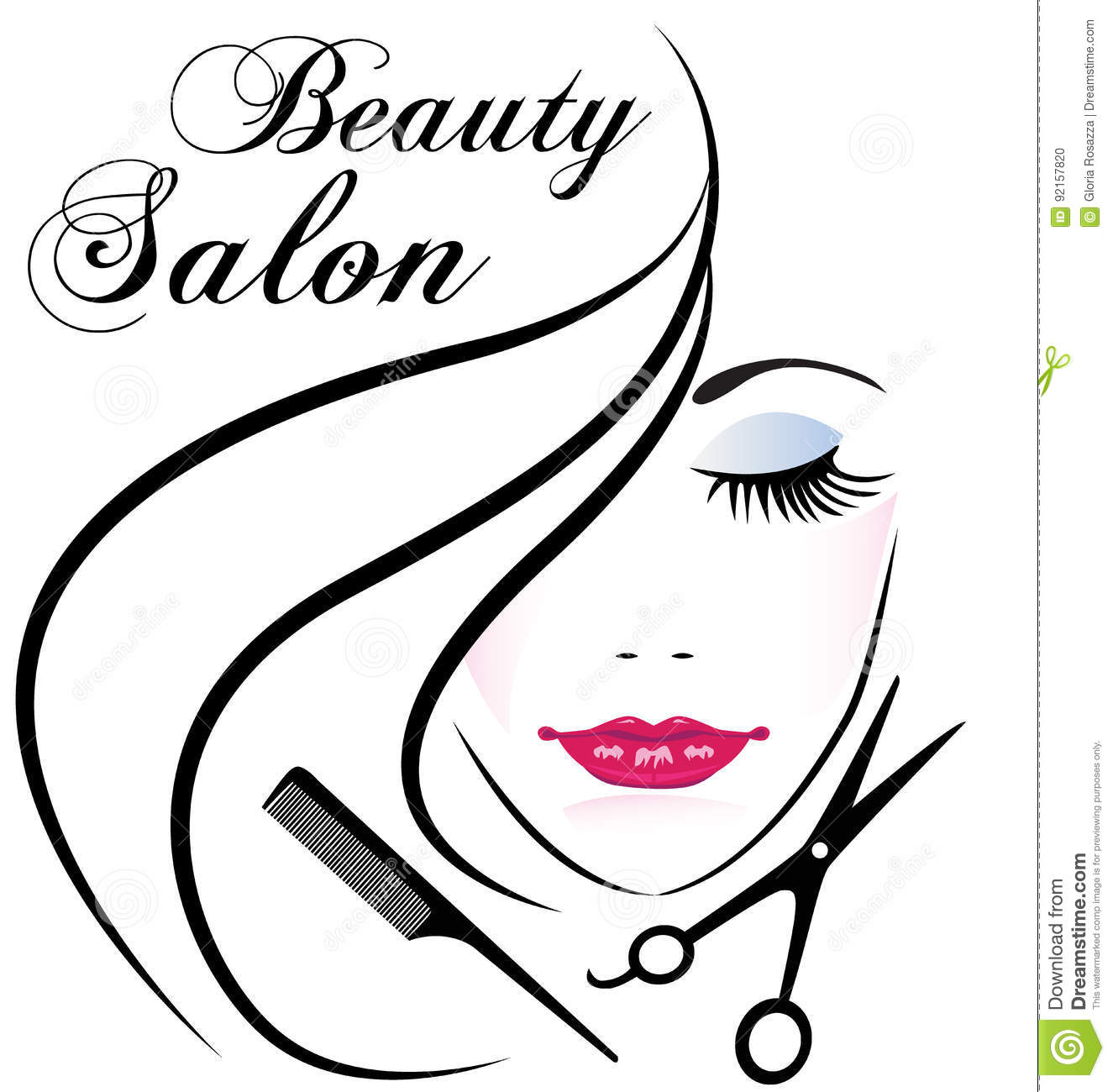 Beauty Salon Pretty Woman Hair Face Logo Vector