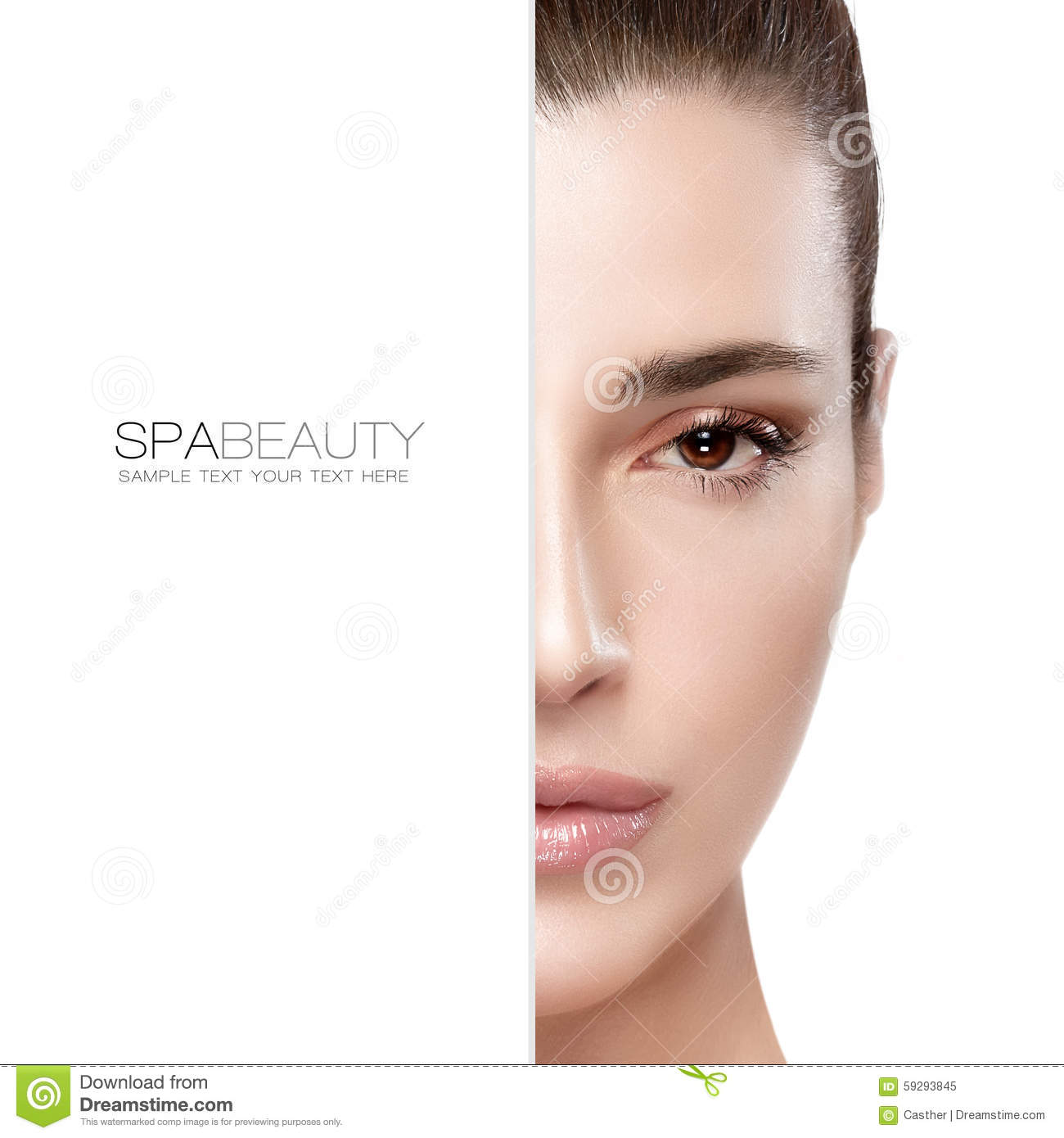 Beauty And Skincare Concept Half Face Portrait Stock Photo