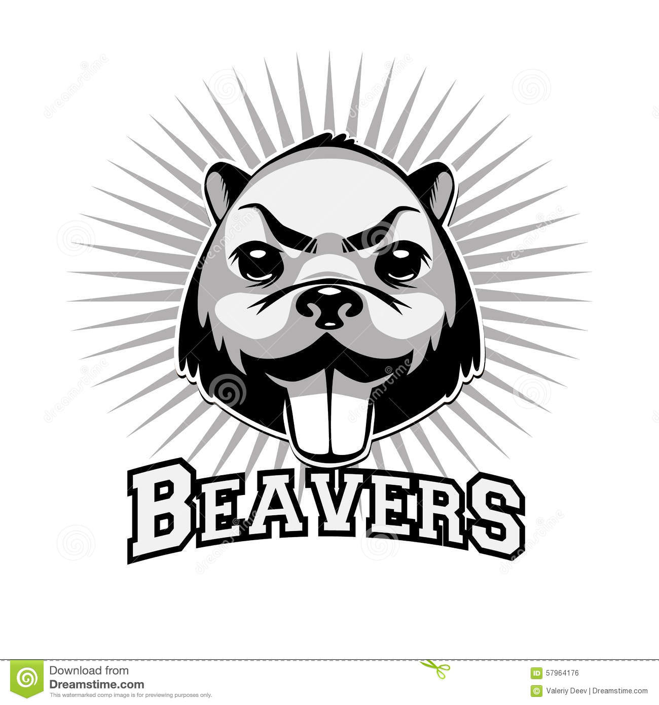 Beaver Logo Black And White Head Stock Vector