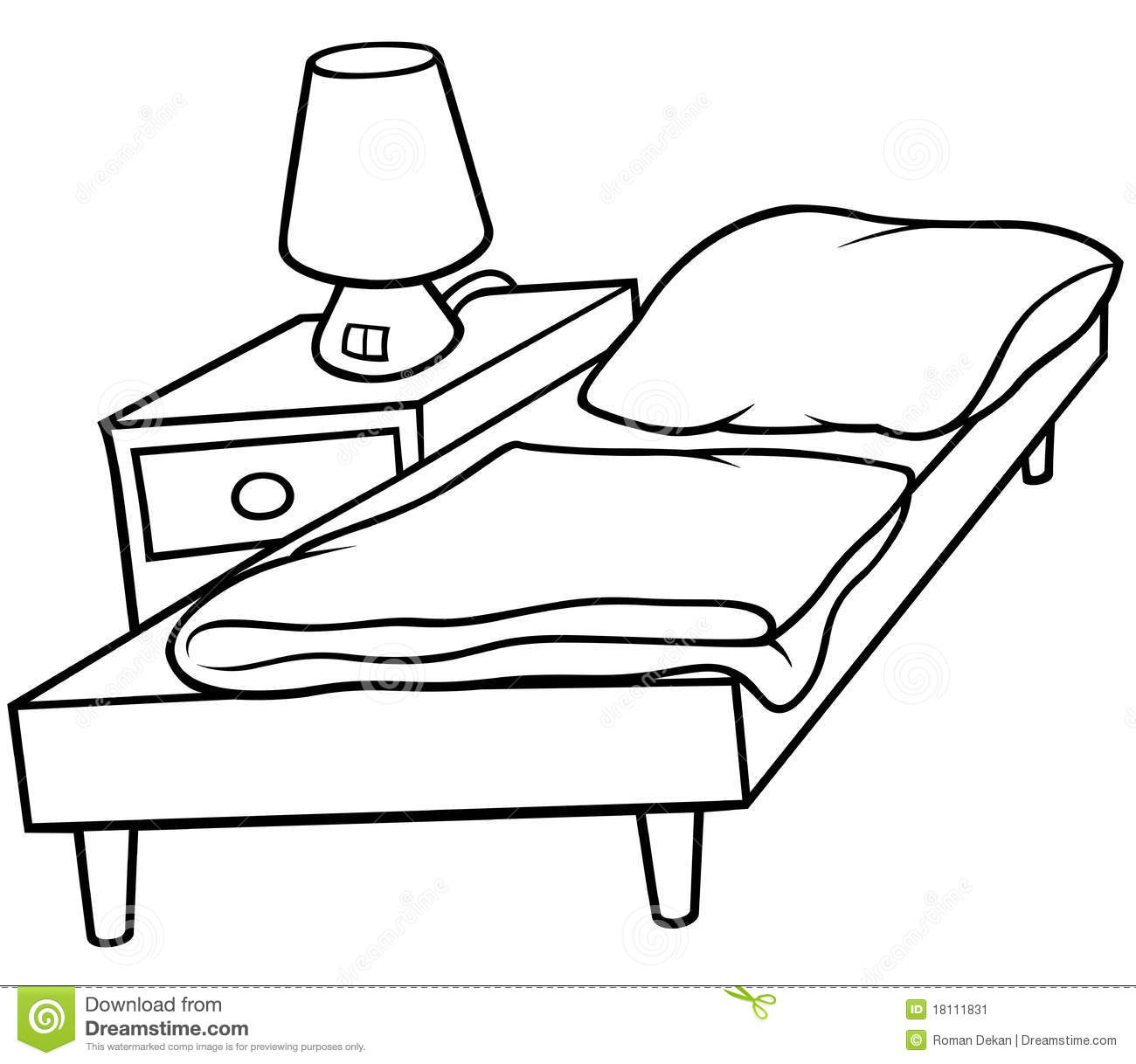 Bed And Bedside Stock Vector Illustration Of Interior