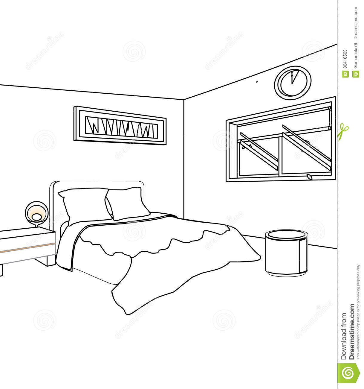 Bed Room Coloring Page Stock Illustration Illustration Of