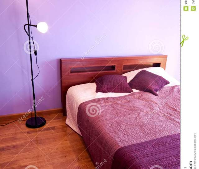 Download Bedroom Decorated In Violet Colors Stock Image Image Of Violet Lamp