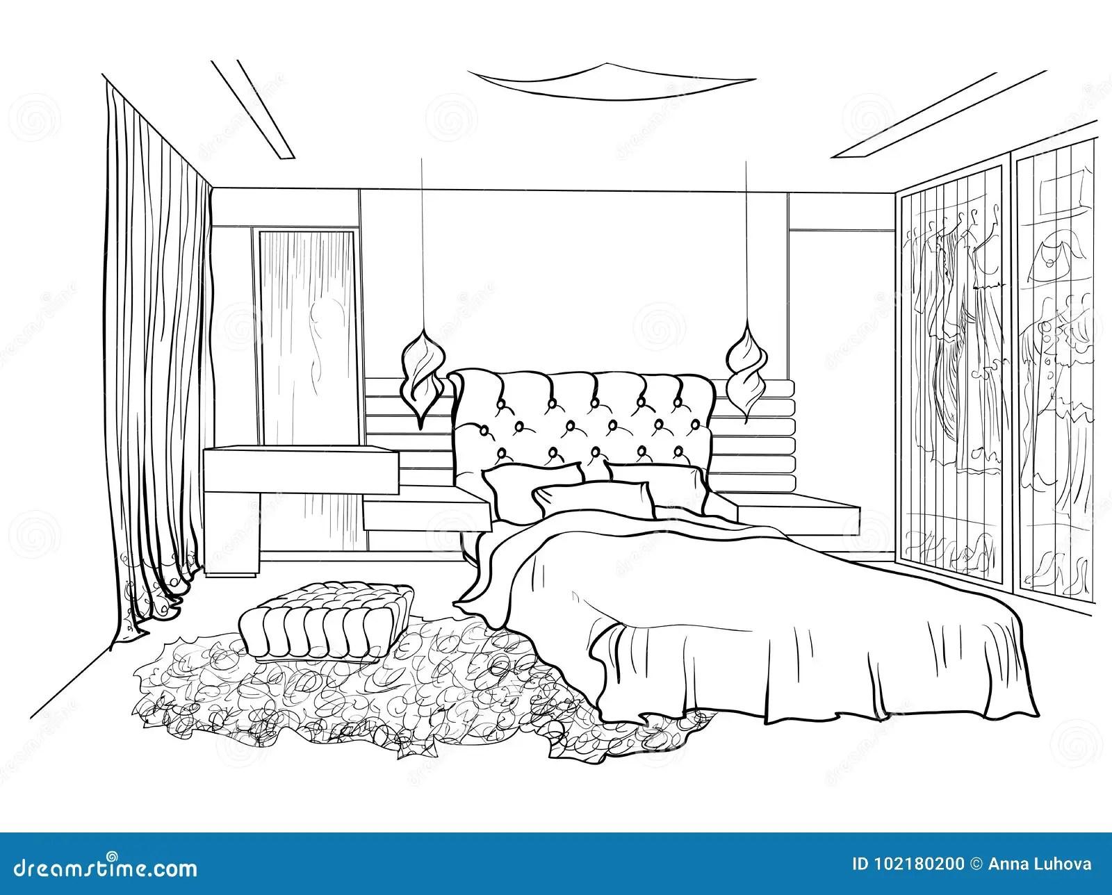 Bedroom Design Black Stock Vector Illustration Of