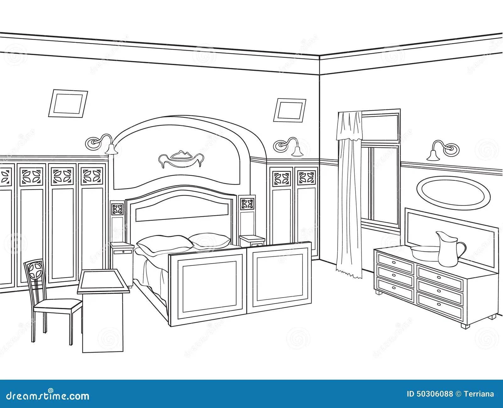 Bedroom Furniture Editable Illustration Of An Outline Sk