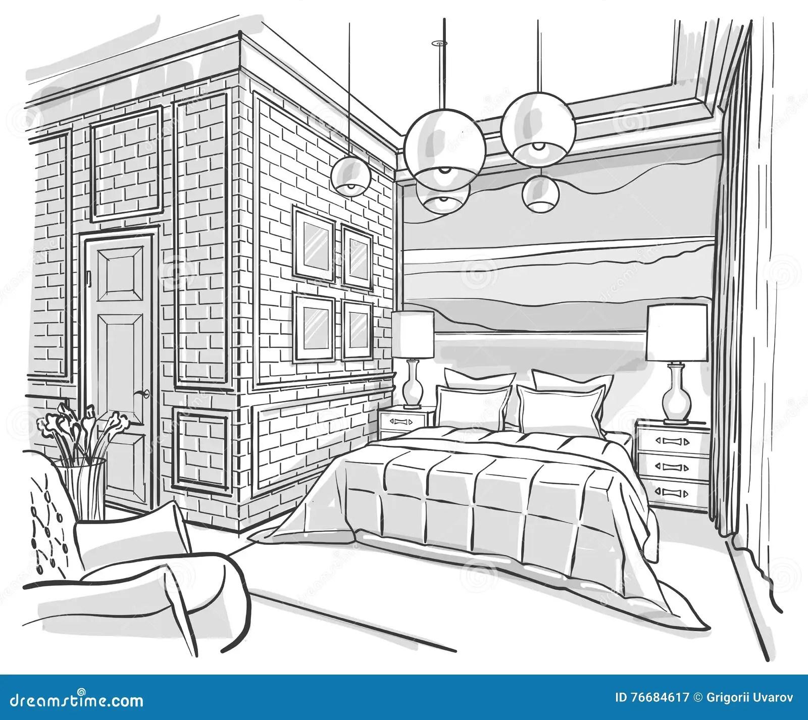 Bedroom Interior Outline Vector Sketch Drawing Stock
