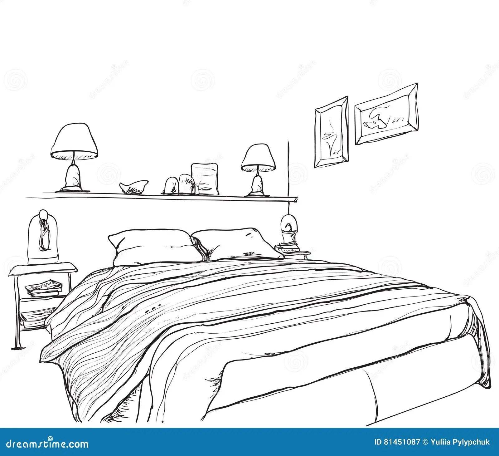 Bedroom Modern Interior Sketch Stock Vector